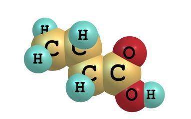 Butyric (butanoic) acid molecule isolated on white