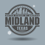 Stamp or label with text Midland, Texas inside poster