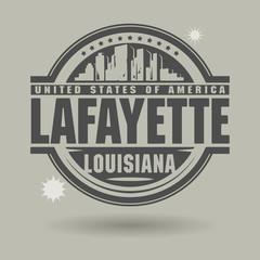 Stamp or label with text Lafayette, Louisiana inside