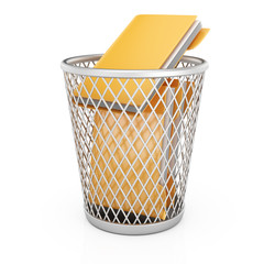Wastepaper basket with folders
