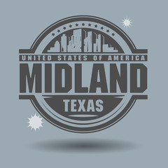 Stamp or label with text Midland, Texas inside