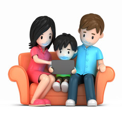 3d render of a happy family using tablet