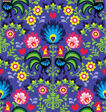 Fotoroleta Seamless Polish folk art pattern with roosters - Wzory Lowickie