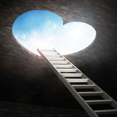 Ladder leading to heart shaped opening