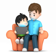 3d render of a happy father and son using tablet