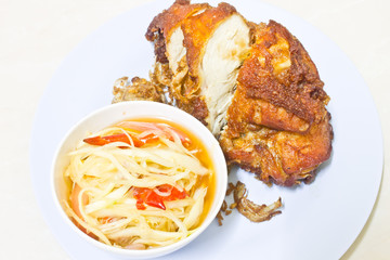 papaya salad and fried chicken