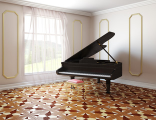 Piano in classic style room
