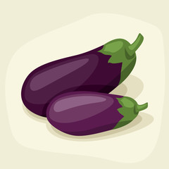 Stylized vector illustration of fresh ripe eggplants.