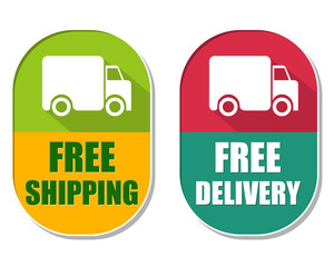 free shipping and delivery with truck sign, two elliptical label