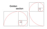 Illustration of double golden spiral - ratio, proportion