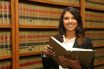 Female Lawyer in Law Library