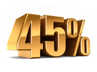 3d render of a Gold 45 percent