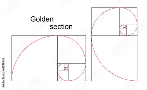 Ilustracja podwójna złota spirala - stosunek, proporcja
