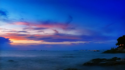 Sunset over the sea. Timelapse FullHD 1080p.