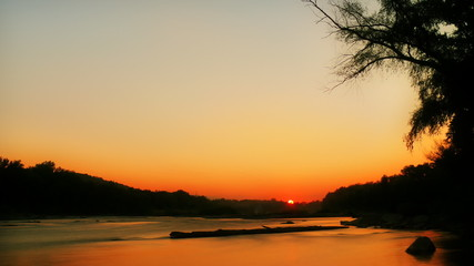Timelapse sunset over the river in FullHD 1080p