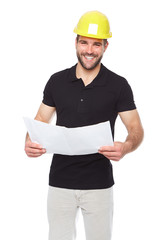 Young smiling engineer holding a project documentation