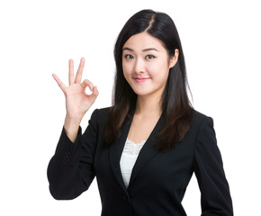 Perfect - business woman showing OK hand