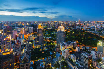 After sunset Bangkok cityscape