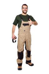 Worker in brown uniform with earphones a glasses