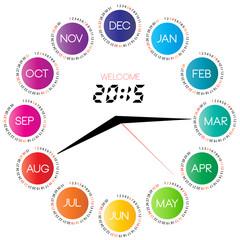 2015 calendar with clock, inspirational illustration