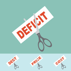 Cutting concept - Cutting the deficit,price,cost,debt