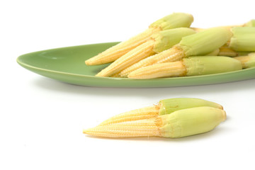 Baby corn in the green plate