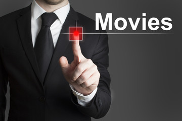 businessman pushing red button movies