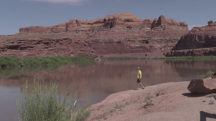 Tourist Along Colorado River Moab Utah
