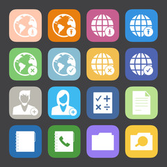 Flat Color style mobile phone icons network icons vector set.