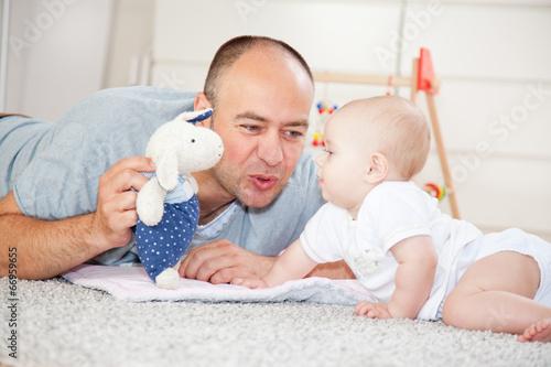 Poster Vater mit Baby