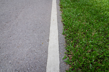 asphalt road with strip line and green grass