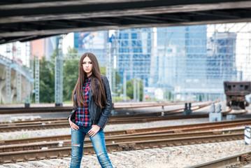 Girl at railroad