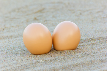 Egg at sand beach