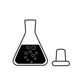 Ungraduated Erlenmeyer flask with a solution