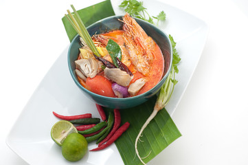 Tom Yam - traditional Thailand soup with prawns
