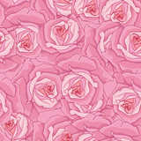 Seamless background. Pink roses.
