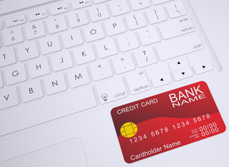 Credit card on the keyboard