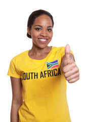 Woman from South Africa showing thumb up