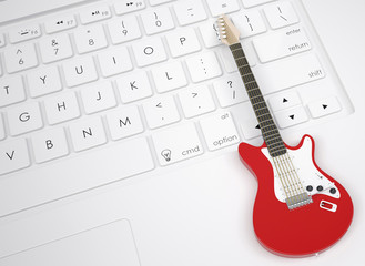 Electric guitar on the keyboard