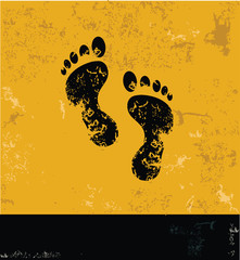 Foot symbol,Grunge vector