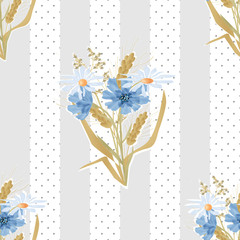 Meadow flowers seamless pattern on striped