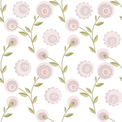 Cartoon cute flowers seamless pattern