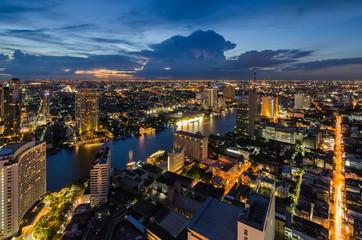 Bangkok cityscape with Chaophraya River