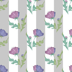 Purple flowers seamless pattern on striped