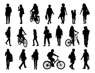 big set of women walking silhouettes