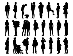 big set of women standing silhouettes 1