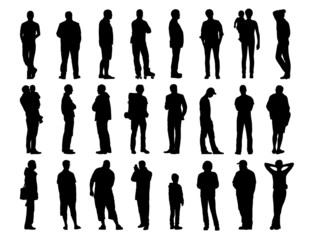 big set of men standing silhouettes 1