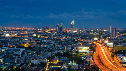 Bangkok express way at twilight time