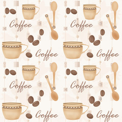 Retro seamless pattern with cup of coffe and spoon