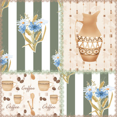 Patchwork seamless pattern with coffe cup, jug and flowers